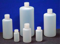 FLUORINATED NARROW MOUTH HIGH DENSITY POLYETHYLENE BOTTLES (Cat #  BB-7600-16N-12 Bottles)